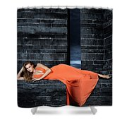 Young Woman In Long Orange Dress Shower Curtain