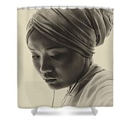 Young Woman In Turban Shower Curtain