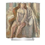 Young Woman In White Chemise Shower Curtain