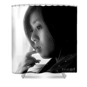 Young Woman On Manly Ferry Shower Curtain