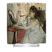 Young Woman Powdering Her Face Shower Curtain