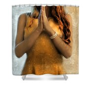 Young Woman Praying Shower Curtain by Jill Battaglia