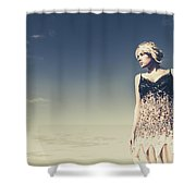 Young Woman Standing On The Beach Shower Curtain