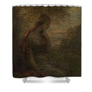 Young Woman Under A Tree At Sunset Shower Curtain