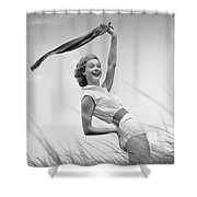 Young Woman Waving Scarf, C.1950-60s Shower Curtain