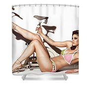 Young Woman Wearing A Swimsuit Shower Curtain