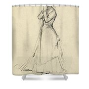 Young Woman With A Broom Shower Curtain