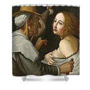 Young Woman With A Fortune Teller Shower Curtain