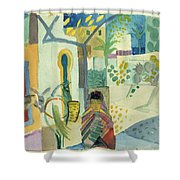 Young Woman With A Horse And A Donkey Shower Curtain