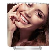 Young Woman With A Natural Smile Shower Curtain