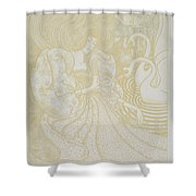 Young Woman With Butterfly Shower Curtain