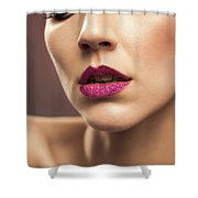Young Woman With Flawless Makeup Shower Curtain