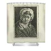 Young Woman With Hat And Curly Hair Shower Curtain
