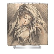Young Woman With Her Head Covered Shower Curtain