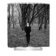 Young Woman With Her Head Tilted Back While Standing In A Forest Shower Curtain