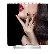Young Woman With Red Lipstick Sensual Closeup Of Mouth Shower Curtain