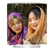 Young Women Silk Scarves 01 Shower Curtain