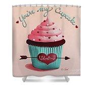 You're My Cupcake Valentine Shower Curtain