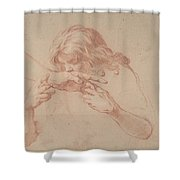 Youth Kissing An Outstretched Hand Shower Curtain
