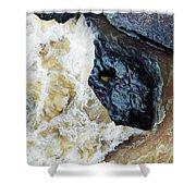 Yuba Blue Boulder In Stormy Waters Shower Curtain