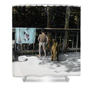 Zach And Jack  Shower Curtain by Wayne King