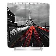 Zakim Bridge And Td Garden Boston Ma Red Tail Lights Shower Curtain