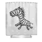 Zebra Black Star Shower Curtain