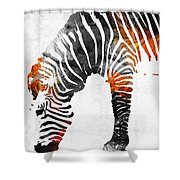 Zebra Black White And Red Orange By Sharon Cummings  Shower Curtain