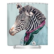 Zebra Blue Shower Curtain