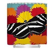 Zebra Butterfly Shower Curtain