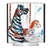 Zebra Gets A Ride The Ocean City Boardwalk Carousel Shower Curtain