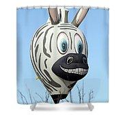 Zebra Hot Air Balloon At Balloon Fiesta Shower Curtain