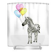 Baby Zebra Watercolor Animal With Balloons Shower Curtain