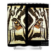 Zebras Eye - Studio Abstract Sepia Shower Curtain