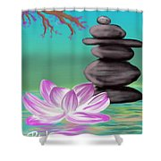 Zen Pool- Turquoise Shower Curtain