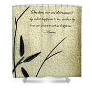 Zen Sumi 4b Antique Motivational Flower Ink On Watercolor Paper By Ricardos Shower Curtain by Ricardos Creations