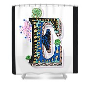Zentangle Inspired E #3 Shower Curtain