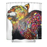 Day-doodle Mountain Kitty Shower Curtain