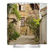 Zeytinli Village Cobblestone Lane Shower Curtain