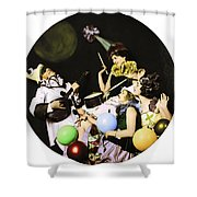 Ziegfeld Model  By Alfred Cheney Johnston  Pierrot Serenading Three Beautiful Sexy Women Shower Curtain