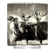 Ziegfeld Model  Dancers By Alfred Cheney Johnston Black And White Ballet Shower Curtain