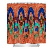 Zig Zag Pattern On Orange Shower Curtain