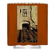 Zig Zag Shadows At Clifford's Tower, York, England Shower Curtain