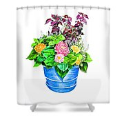 Zinnia Container Garden Shower Curtain