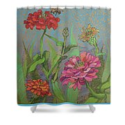 Zinnias With Bee Shower Curtain