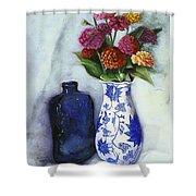 Zinnias With Blue Bottle Shower Curtain