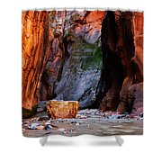 Zion Narrows With Boulder Shower Curtain