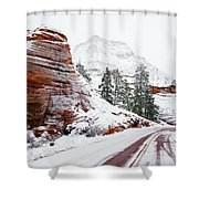 Zion Road In Winter Shower Curtain