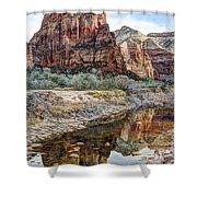 Zions National Park Angels Landing - Digital Painting Shower Curtain