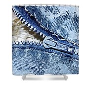 Zipper In Blue Shower Curtain